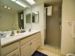 Double sink master bath with Granite counter tops