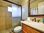 Full bathroom with walk in shower.