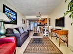 Open floor plan and flat screen TV makes for great family time.