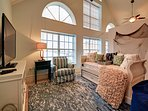 Nautical style upstairs living room with trundle day bed