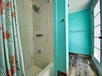 Cabana bathroom has shower