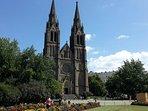 St Ludmila Church, 2 minutes walk.