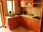 Kitchen, dishwasher, fridge, hob, microwave, oven