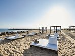 Vilamoura Puro Beach, Food, Drinks, Sun loungers, Beds and   Music