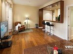 With TV, free wifi internet access and central air-conditioning with cooling and heating.