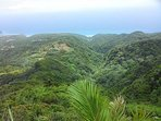 A picture of the Katy Hill trail hike from the summit. Montserrat's green slopes offer ample hiking opportunities.