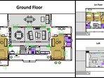 3 levels' layout