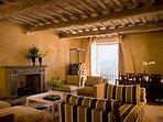 Amiata living room and balcony