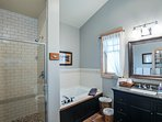Bath with separate shower and whirlpool tub