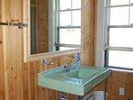 2nd floor full bath in cedar and throw back fixtures
