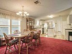 Large open kitchen and dining area, dining table top for 6