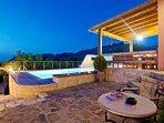 The terrace id beautiful lit by night!