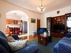 Living room, wooden furniture, villa Ivana, Split