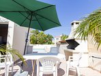 Pool side BBQ and alfresco dining next to the garden in Villa Nishita, 3 bed villa in Ayia Napa town