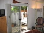 Your  private  entry through a sliding glass door. Small TV