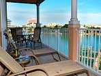 Relax on the very large balcony overlooking Clearwater Harbor