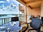 Large patio overlooking the harbor.