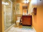 En suite bathroom with guest bedroom