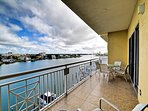 Spacious balcony has panoramic view of the Clearwater Harbor.