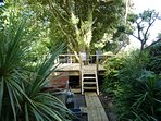 Raised decking ,dining area with beautiful country and seaviews.