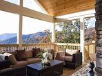 Deck view with outdoor gas log fireplace