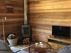 Kingfisher Cabin comfortable lounge and log burner