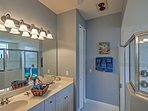 Take your time rinsing off in the master suite's huge walk-in shower!