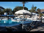 Club La Mer is in front of the bungalow , is a private Club , you have a discount if you want to use
