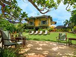 Keela Wee is a pretty yellow stone villa located on a private coral cove, overlooking Discovery Bay.