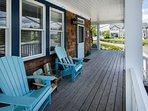 Covered deck, adirondack chairs, propane BBQ