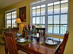 Dining table with harbor views