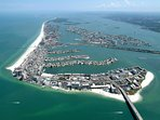 Ariel view of Clearwater Beach.
