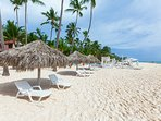 Private Beach with personal loungers and cana parasol