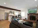 Living room combines with kitchen and dining to make a great room