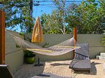 Cozy hammock in large backyard