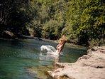 Swimming in river Savinja.