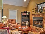 During the cold months, cuddle close to your loved ones beside the stone fireplace.
