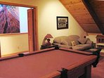 Pool table located upstairs
