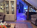 Through to the kitchen with its nautical blue lighting from the lounge