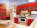 The well equipped kitchen is perfect for preparing tasty recipes for the group.