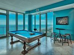 every wall is glass, shoot pool with panoramic views of Gulf AND lagoon, pub table