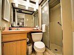 Walk in shower in the en suite master bedroom