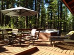 Enjoy Meals Outside on the Private Back Deck in Comfortable Patio Furniture - Hot Tub - Dry Sauna