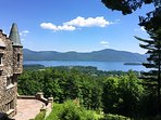 View of Lake George from The Castle Cottage private terrace.