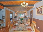 Gather around the dining table to enjoy meals.