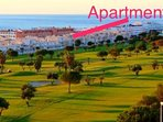 View of apartment from golf course - there is only a hotel in between us and the sea