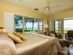 Downstairs Oceanfront Master Suite Bedroom with Private Lanai