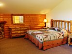 Master Bed Room With King Size Bed, Jacuzzi, Fireplace, TV and Private Bathroom