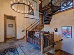 Let's head upstairs to the master bedroom when we're done admiring the chandelier.