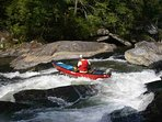Whitewater rafting on the Chatooga River withing minutes from Cherry Bluff Cabin